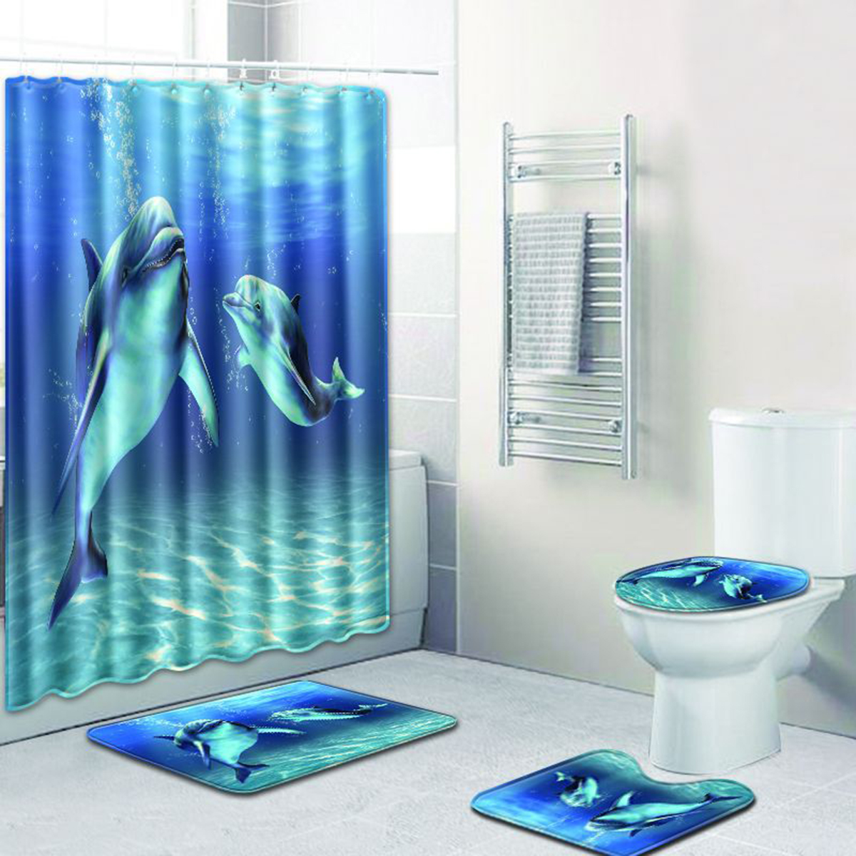 Details About 12 Hooks Dolphin Sea Waterproof Shower Curtain Bathroom Floor Mat Toilet Set