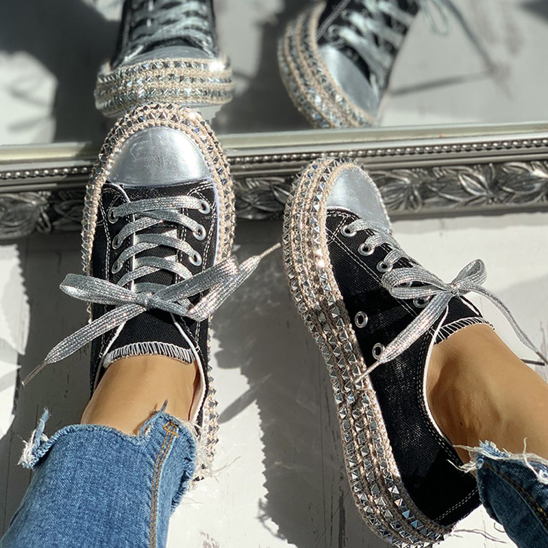 Women-039-s-Leopard-Rivet-Embellished-Canvas-Shoes-Mid-Heel-Lace-Up-Sneakers-Casual thumbnail 3