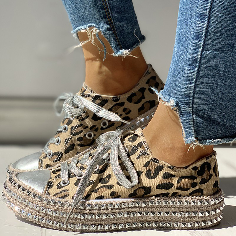 Women-039-s-Leopard-Rivet-Embellished-Canvas-Shoes-Mid-Heel-Lace-Up-Sneakers-Casual thumbnail 9