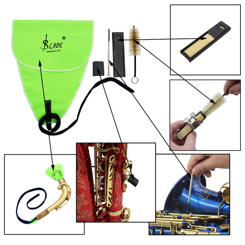 saxophone cleaning kit alto sax cloth with reed clip mouthpiece brush cleaner 6430737116271 ebay. Black Bedroom Furniture Sets. Home Design Ideas