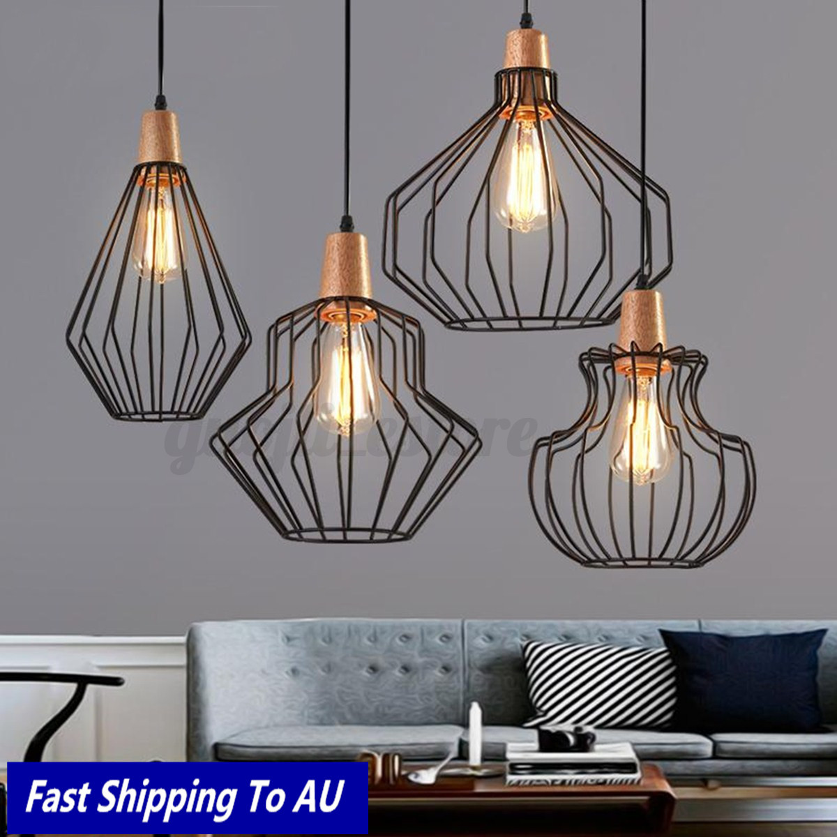 Image is loading iron wood ceiling lights fixtures modern chandelier pendant