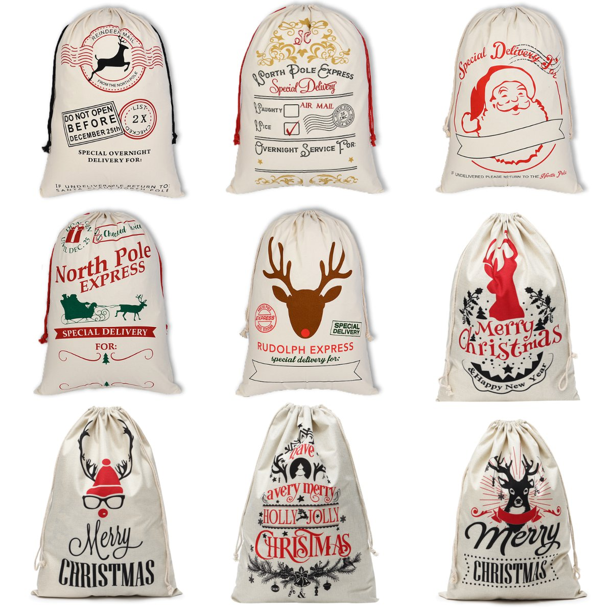 8e335080ebb Large Canvas Merry Christmas Santa Sack Reindeer Xmas Stocking ...