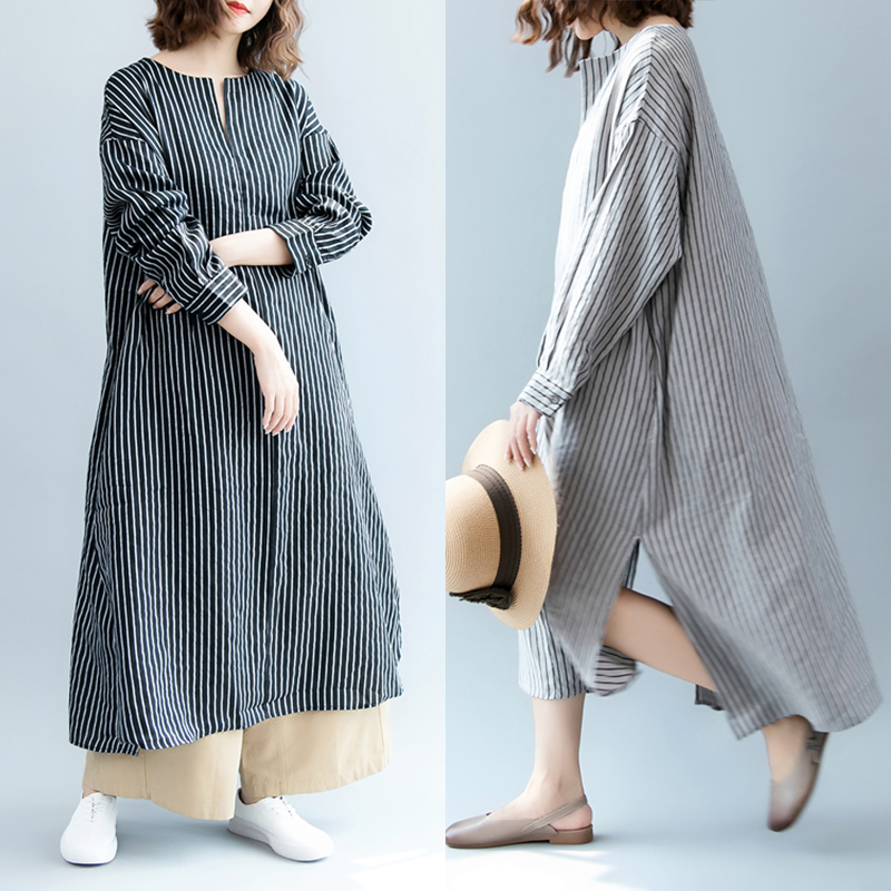 8bea12dbdbc Details about ZANZEA Women Long Sleeve Stripe Shirt Dress Casual Split Midi  Dress Kaftan Tops