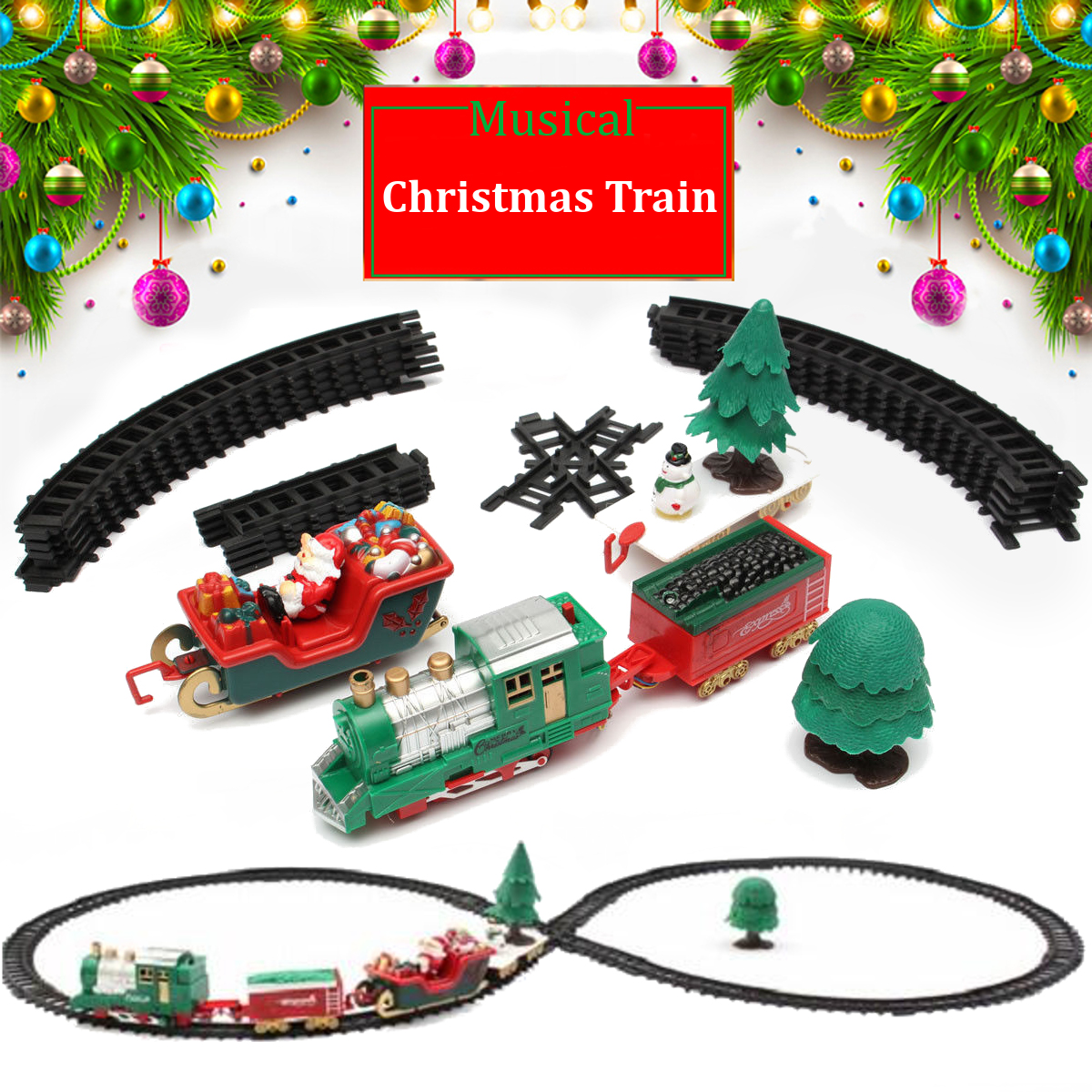 Christmas Musical Light Train Trees Box Set Carriage Kid Gift Toy ...
