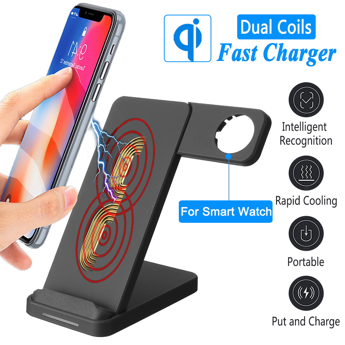 2in1 QI Wireless Charger Phone Stand