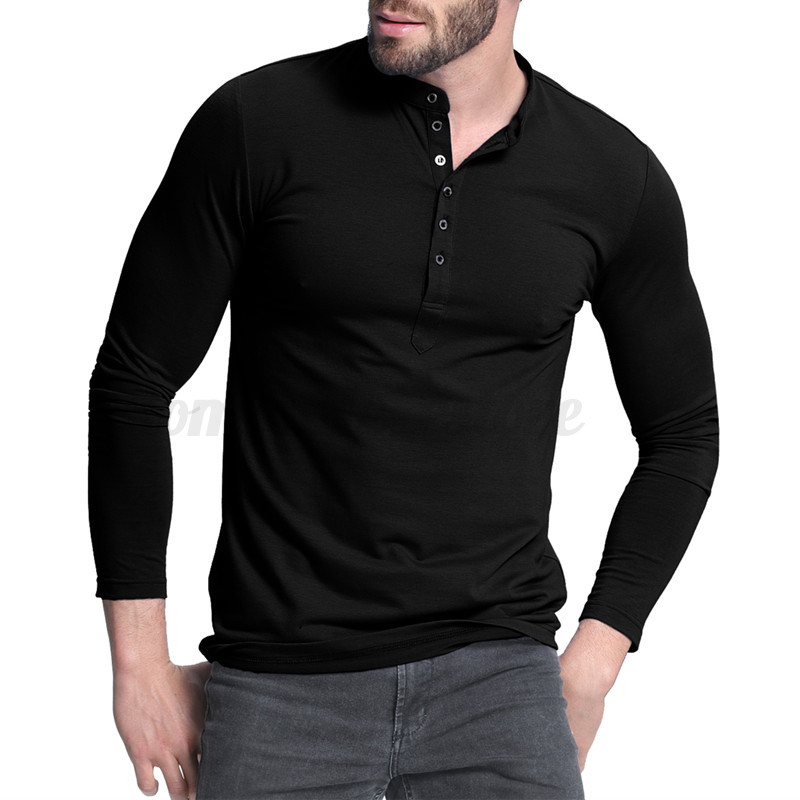 Mens casual slim fit long sleeve polo shirt henley botton for Mens collared henley shirt