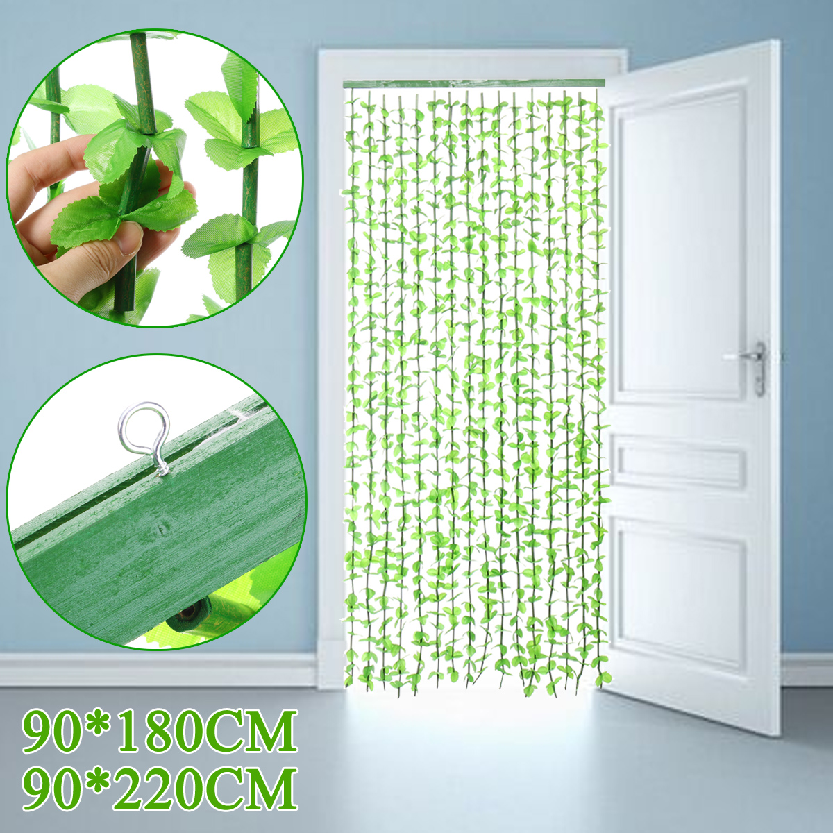 180cm 220cm 16 Lines Green Door Fly Porch Room Leaves String Curtain Decor Ebay