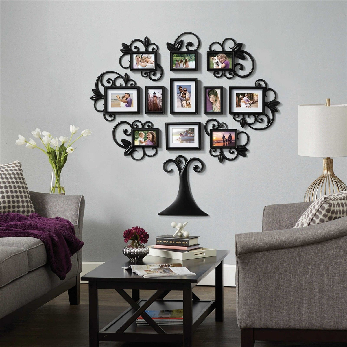 12pcs Family Tree Photo Picture Frame Collage Wall Art Home Xmas