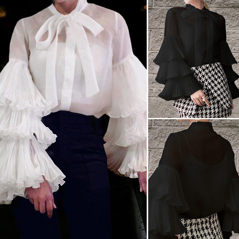 Womens Long Puff Sleeve Tops Ladies Tie Up Bow Blouse Casual Round Neck Shirt US