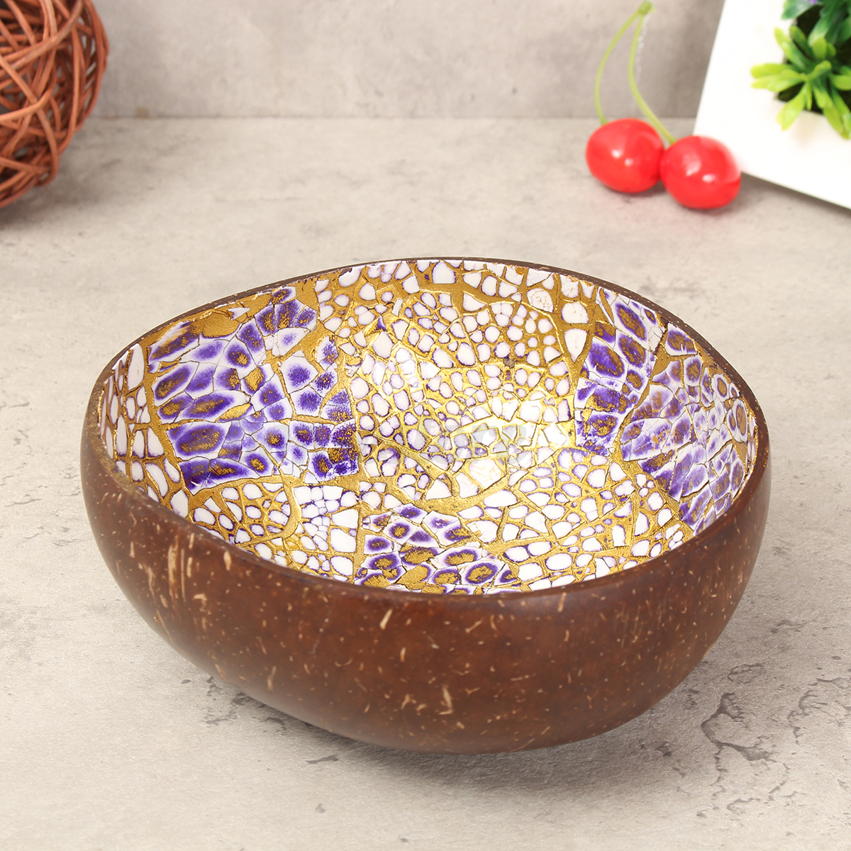 Natural coconut shell bowl dishes handmade paint kitchen for Handmade kitchen decoration