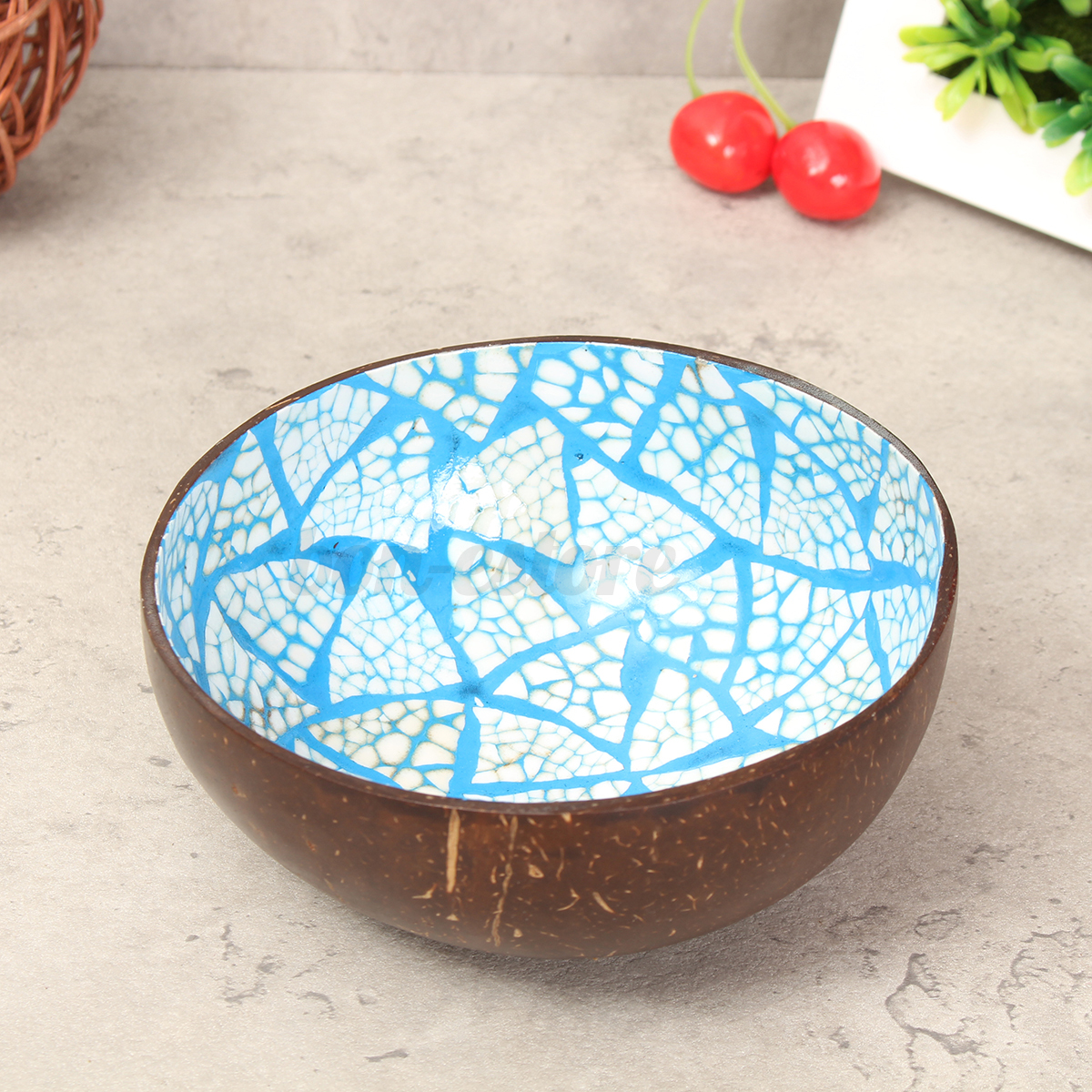 Natural coconut shell bowl dishes handmade paint kitchen for Craft ideas for old dishes