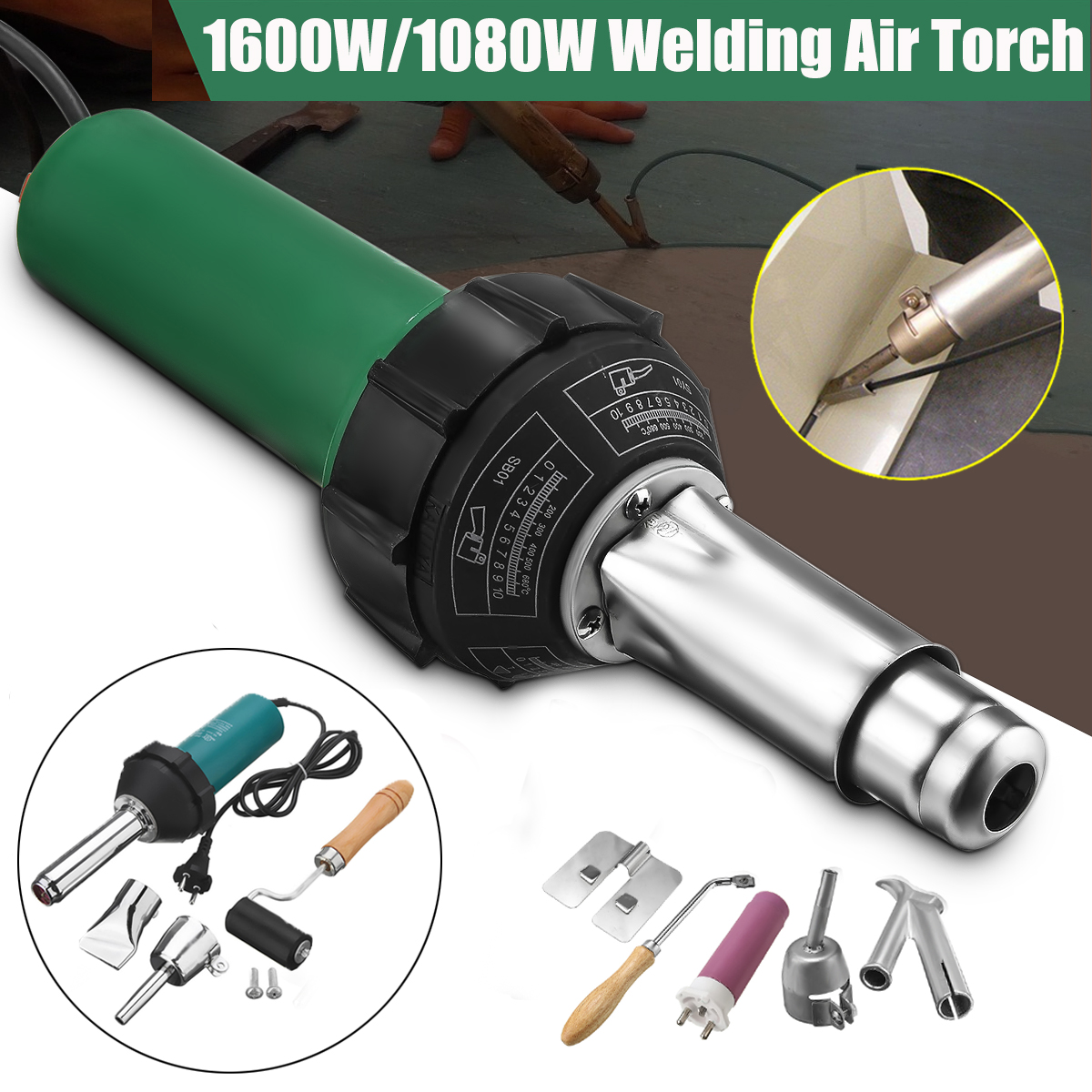 1600w 1080w Ac 220v Hot Air Plastic Welding Torch Welder