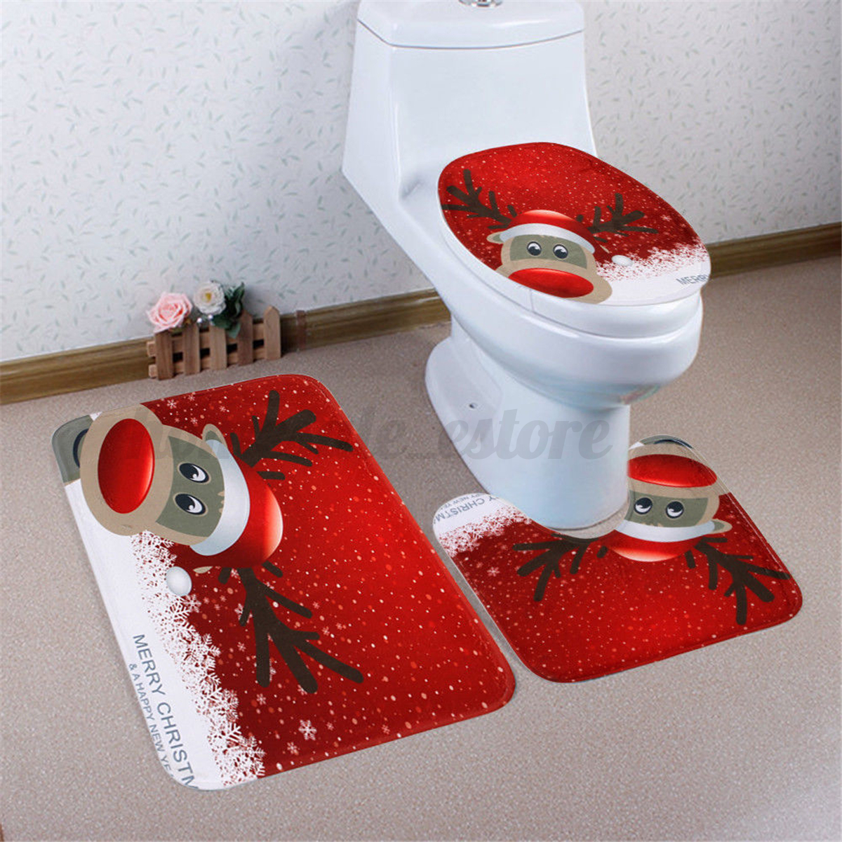 3pcs Set Christmas Snowman Santa Toilet Seat Cover Rug Bathroom Mat Xmas Decor Ebay