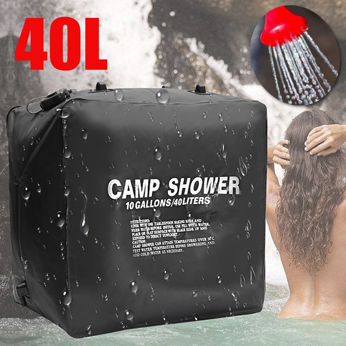 10L Solar Heated Shower Water Bag Portable Bathing Outdoor Camping Hiking Pipe