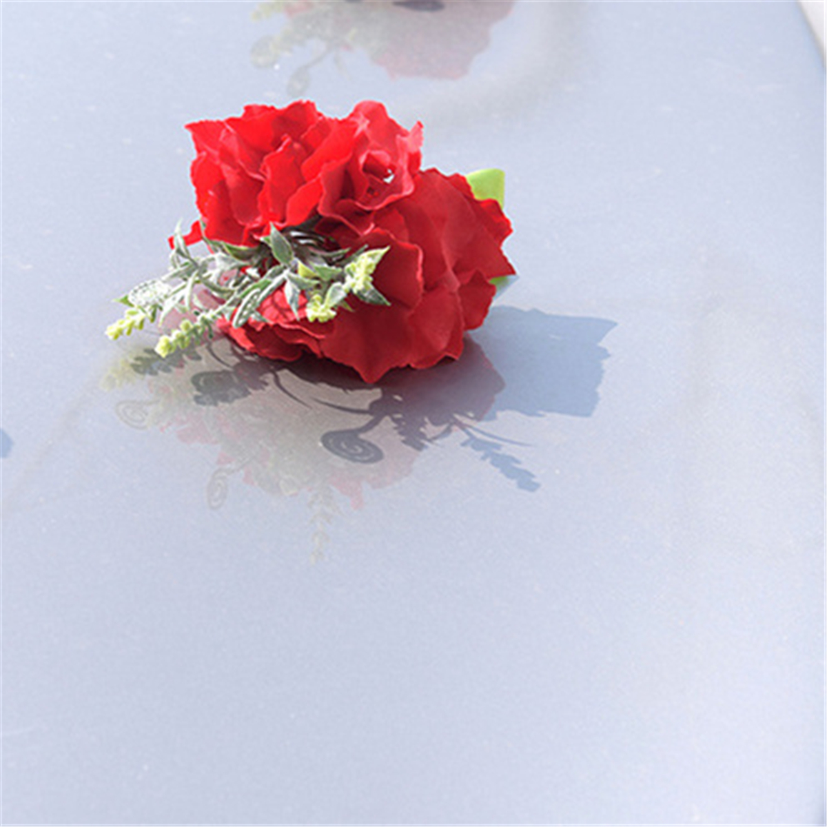 Wedding-Car-Artificial-Rose-Flower-Bow-Ribbon-Handles-Rearview-Mirror-Decoration