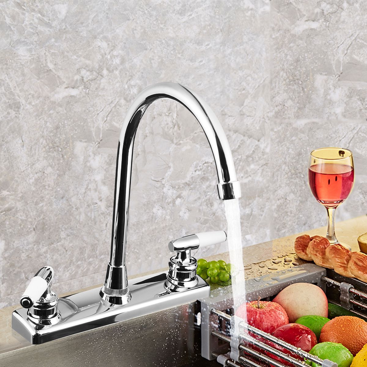 Home//RV Dual Handles Kitchen Faucet Hot/&Cold Basin Sink Spout Mixer Water Tap US