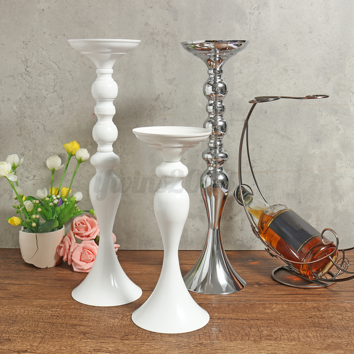 White Metal Pillar Candle Holders : White silver metal carved church pillar candle holder