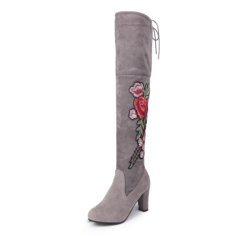 Women-039-s-High-Heel-Over-the-Knee-Boots-Rose-Flowers-Embroidery-Over-The-Knee-Boot