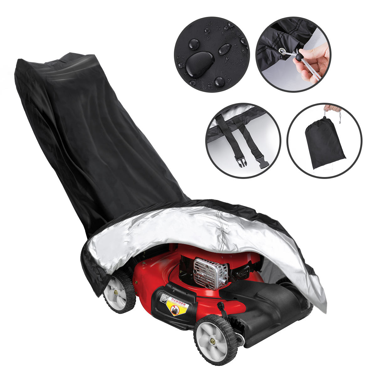 Waterproof Lawn Mower Cover Heavy Duty Push 191x67cm Bag Fit Universal Garden