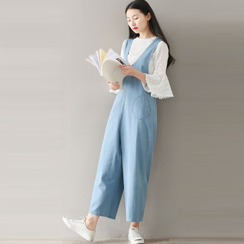damen denim blau dungaree latzhose hose lang spielanzug lose overalls coveralls ebay. Black Bedroom Furniture Sets. Home Design Ideas