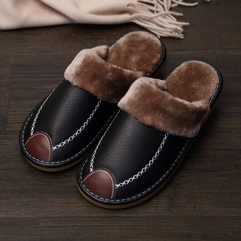 New Womens Leather Closed Toe Slippers Slip On House Shoes UK Size 4-7.5