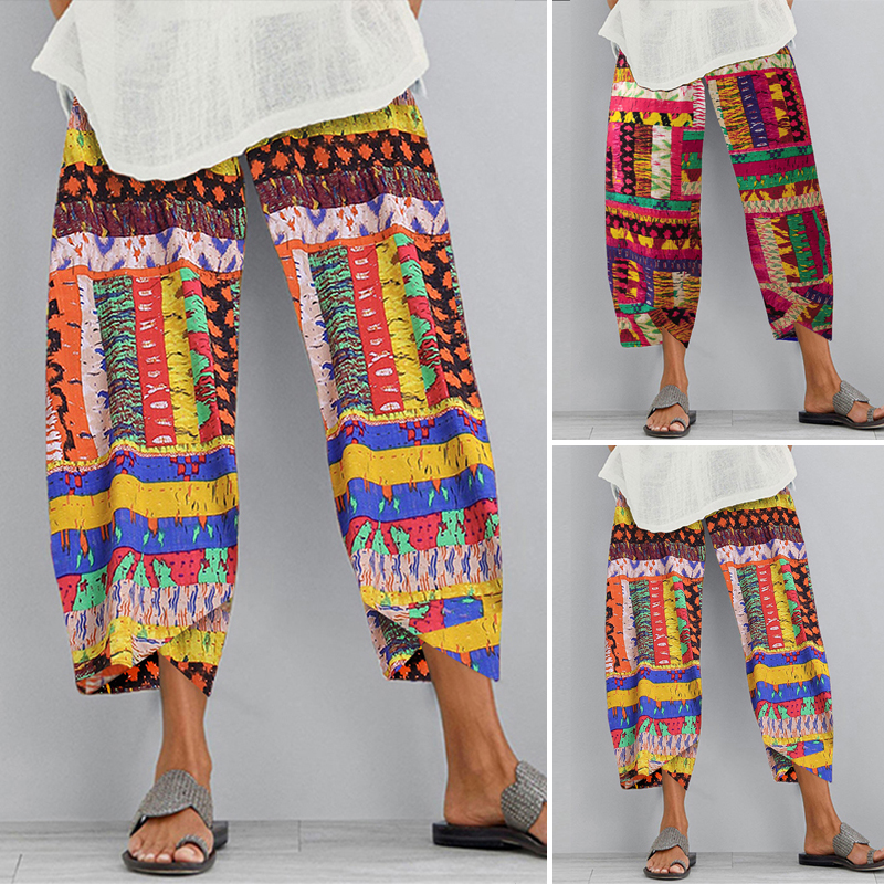 Womens Oversize Asymmetric Casual Holiday Beach Trousers Printed Harem Pants