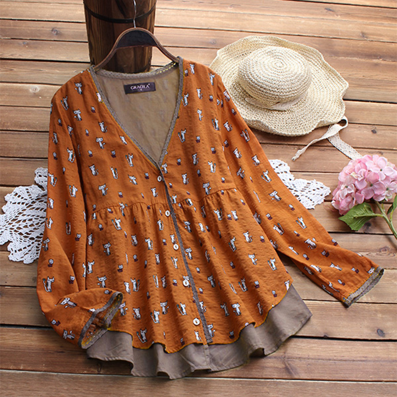 AU-10-24-Women-V-Neck-Button-Down-Shirt-Top-Cat-Kitten-Print-Long-Sleeve-Blouse