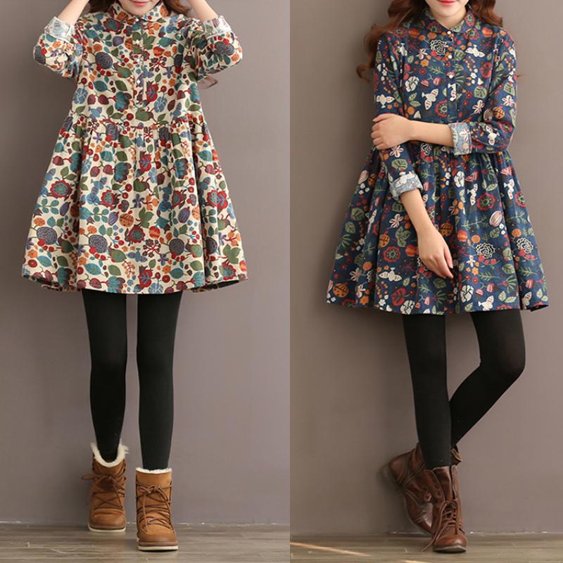 f0795e5067c Womens Vintage Boho Floral Tunic Top Mini Shirt Dress Button Up Plus ...