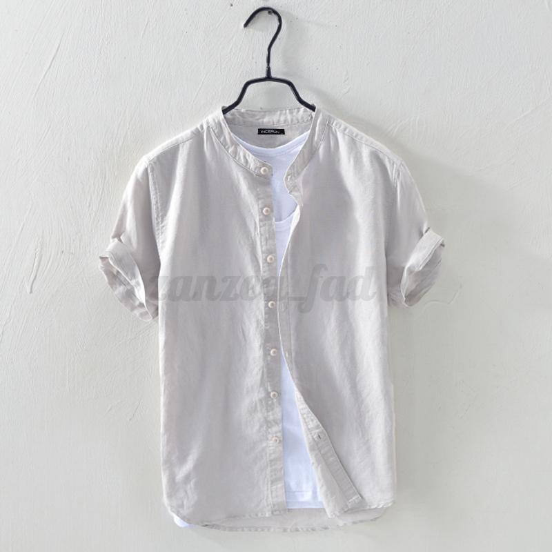 UK-Men-039-s-Linen-Short-Sleeve-T-Shirt-Casual-Loose-V-Neck-Basic-Tee-Tops-Summer thumbnail 11