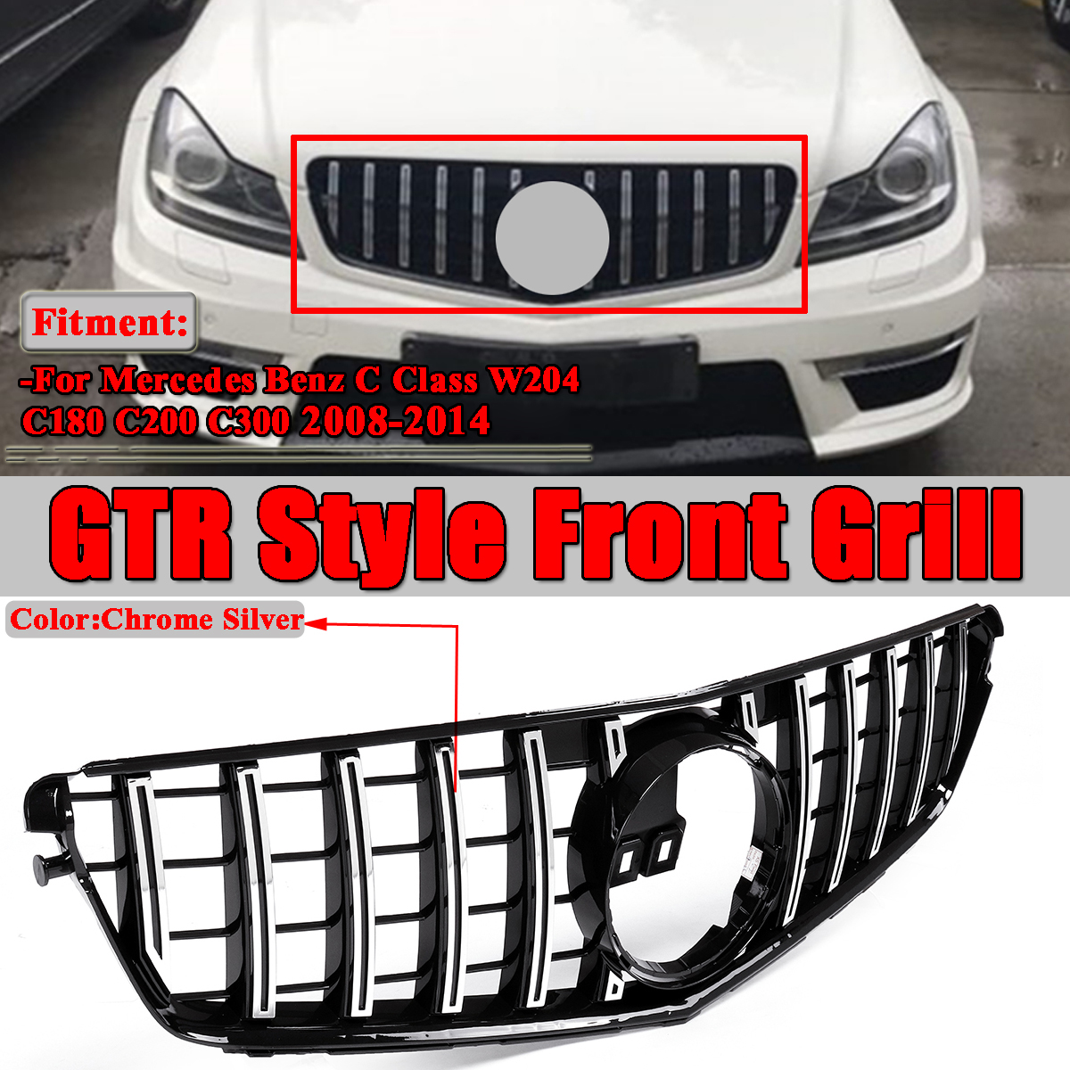 Not for C63 Black GT R style Panamericana front grille for Mercedes Benz C class W204 2008-2014