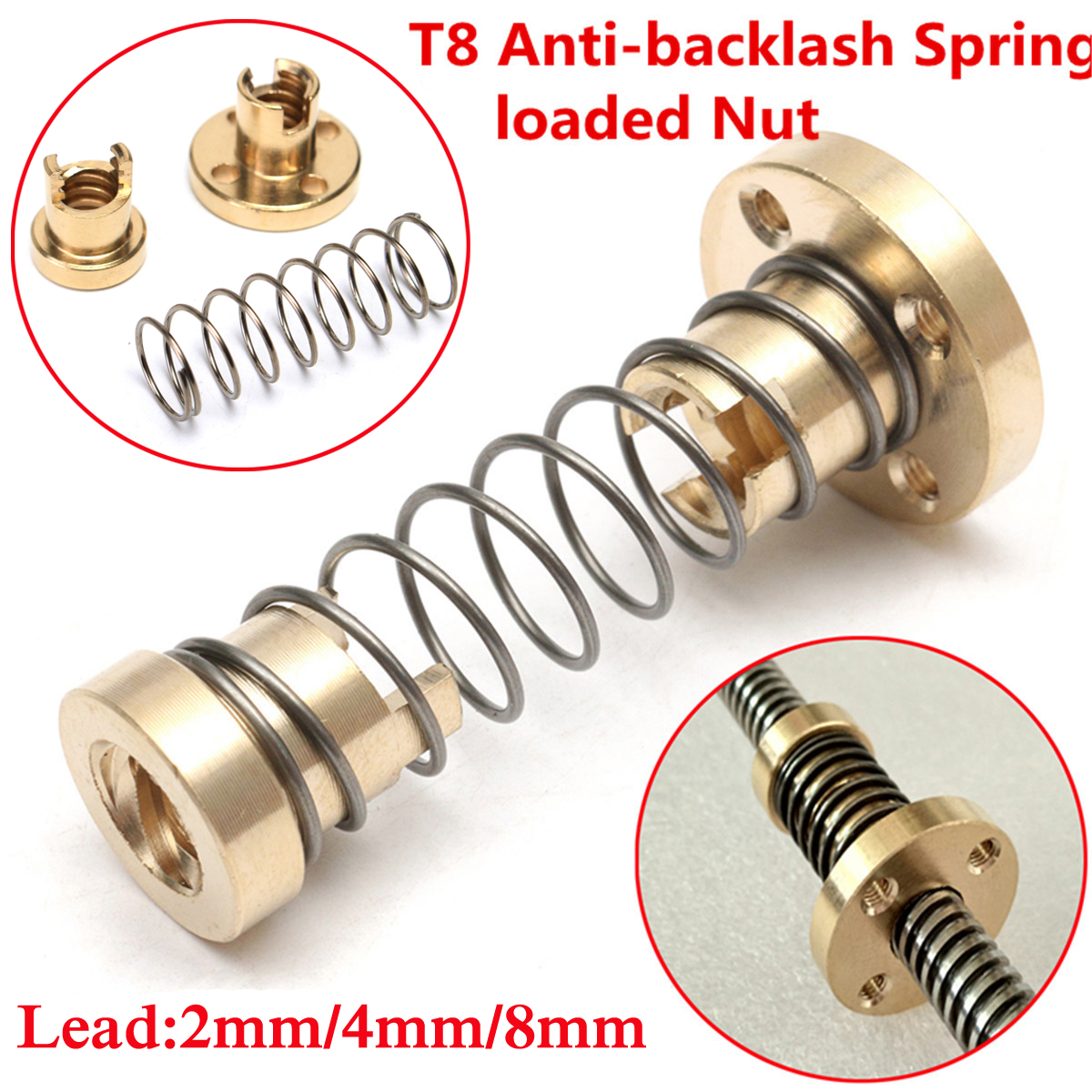 T8-Anti-backlash-Spring-Loaded-Nut-For-CNC-2mm-4mm-8mm-Threaded-Rod-Lead-Screw