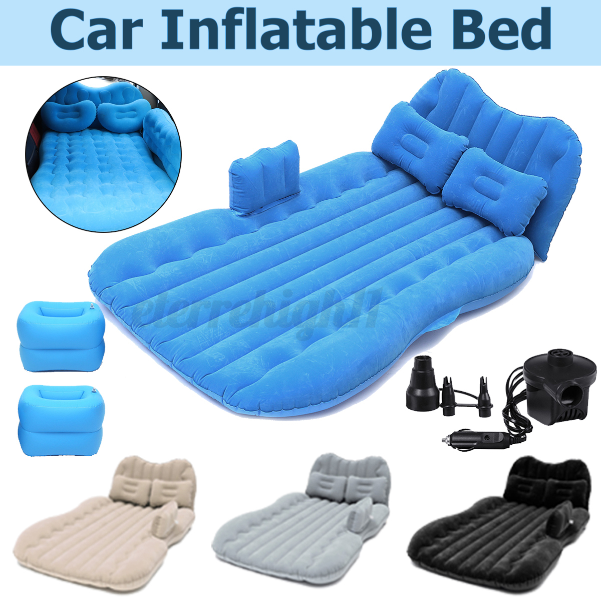 inflatable car air bed back seat mattress kit with 2xpillows?2xstools?1xair pump
