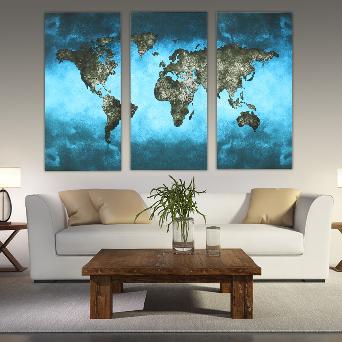 Picture 9 of 9 & 3pcs Canvas Print Panel Vintage World Map Painting Unframed Wall Art ...