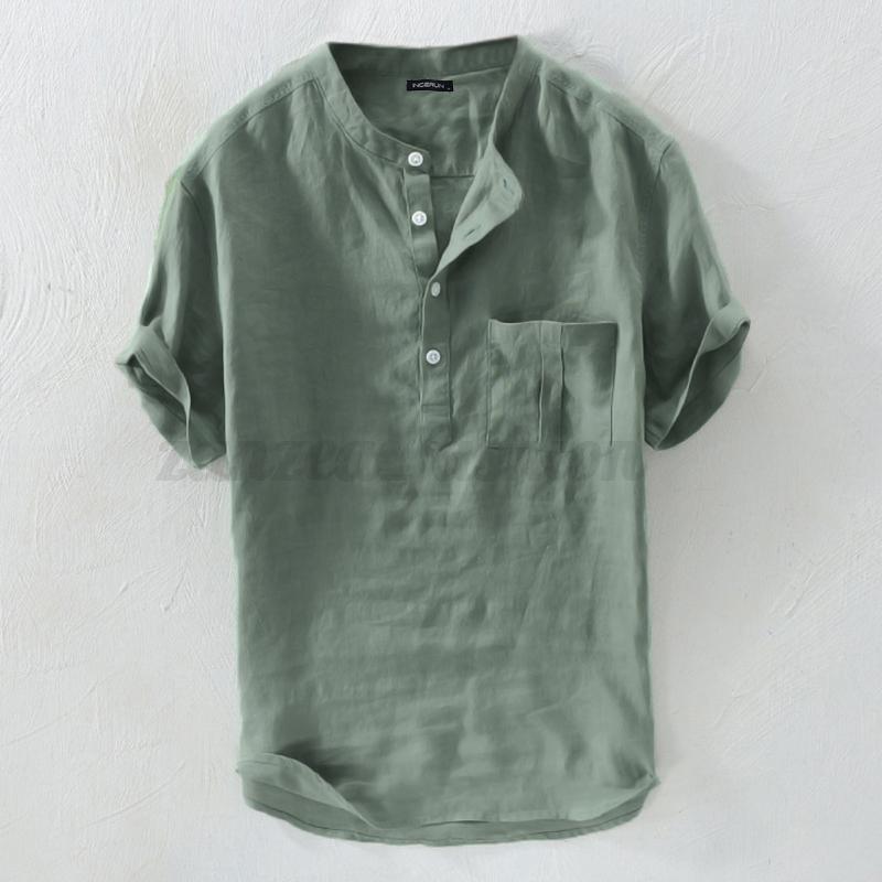Vintage-Hommes-Chemise-a-manches-courtes-d-039-ete-v-cou-vacances-100-Coton-t-shirt miniature 13