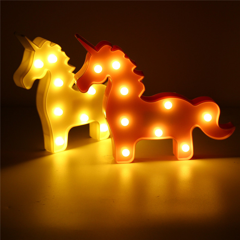 Led marquee unicorn night light wall battery lamp baby for Bedroom night light