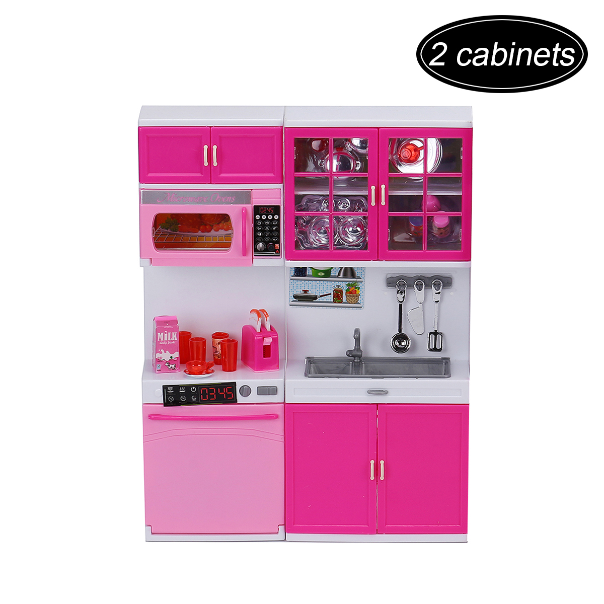 Details about Pink Kids Plastic Kitchen Pretend Play Set Cooking Toys  Toddlers Home Cookware