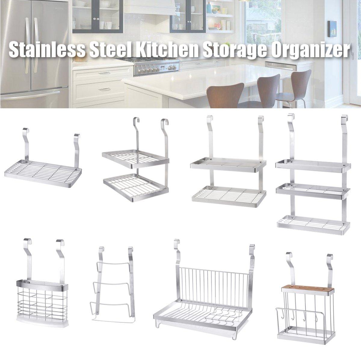 Stainless Steel Organizer Wall Hanging Dish Rack Storage Drying Holder Kitchen Ebay
