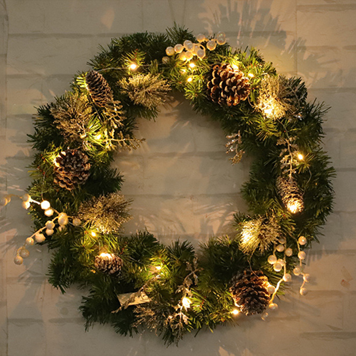 Details about 60CM Large Christmas Wreath Xmas Decor LED Light Home Hotel Shop Door Garland AU