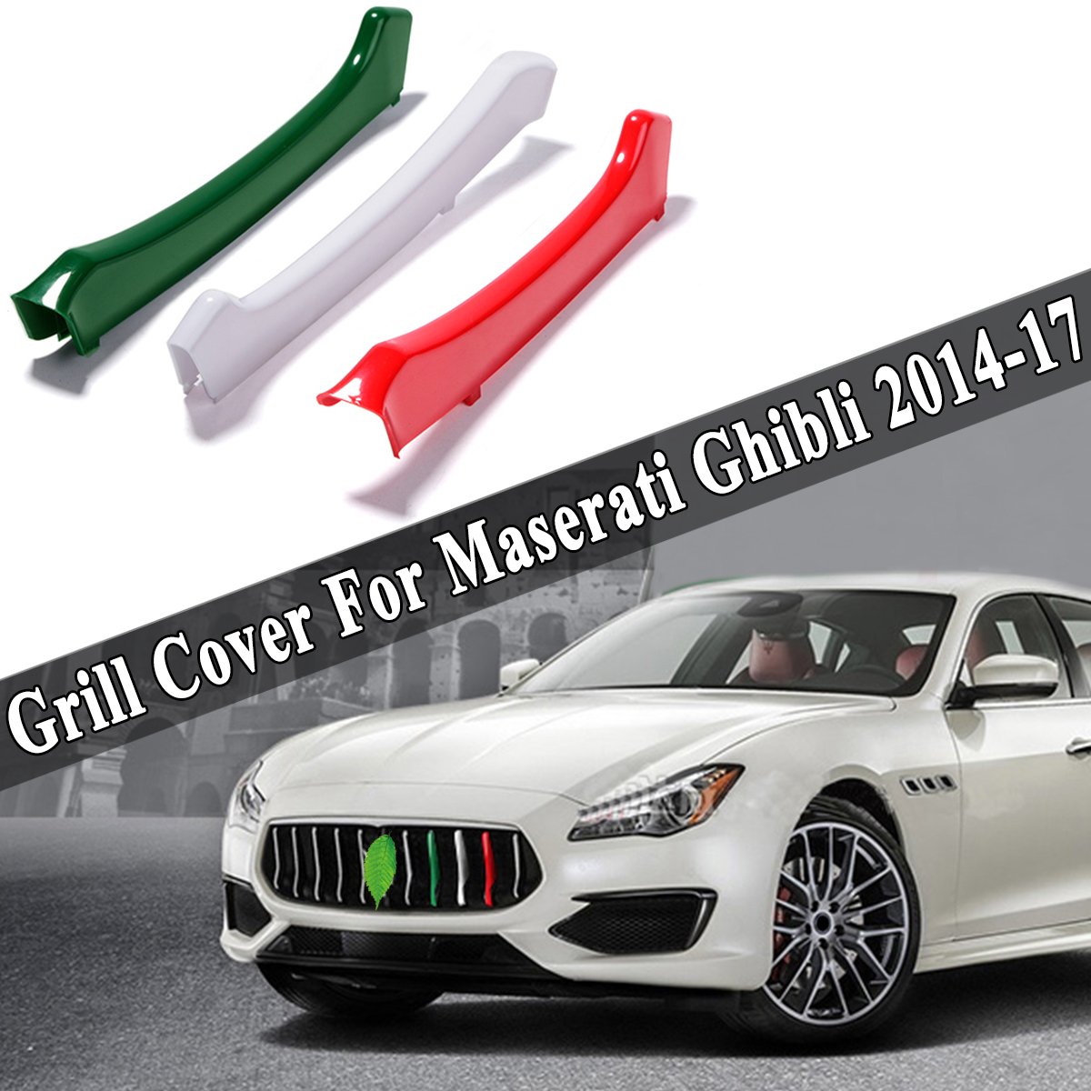 ABS Front Grill Grille Insert Trim Cover 3pcs For Maserati Ghibli 2014-2017