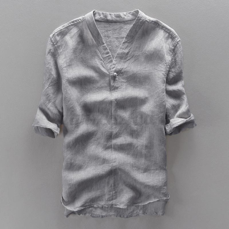 INCERUN-Mens-Casual-Cool-Shirt-Short-Sleeve-Linen-Retro-Summer-Japanese-T-shirt thumbnail 12