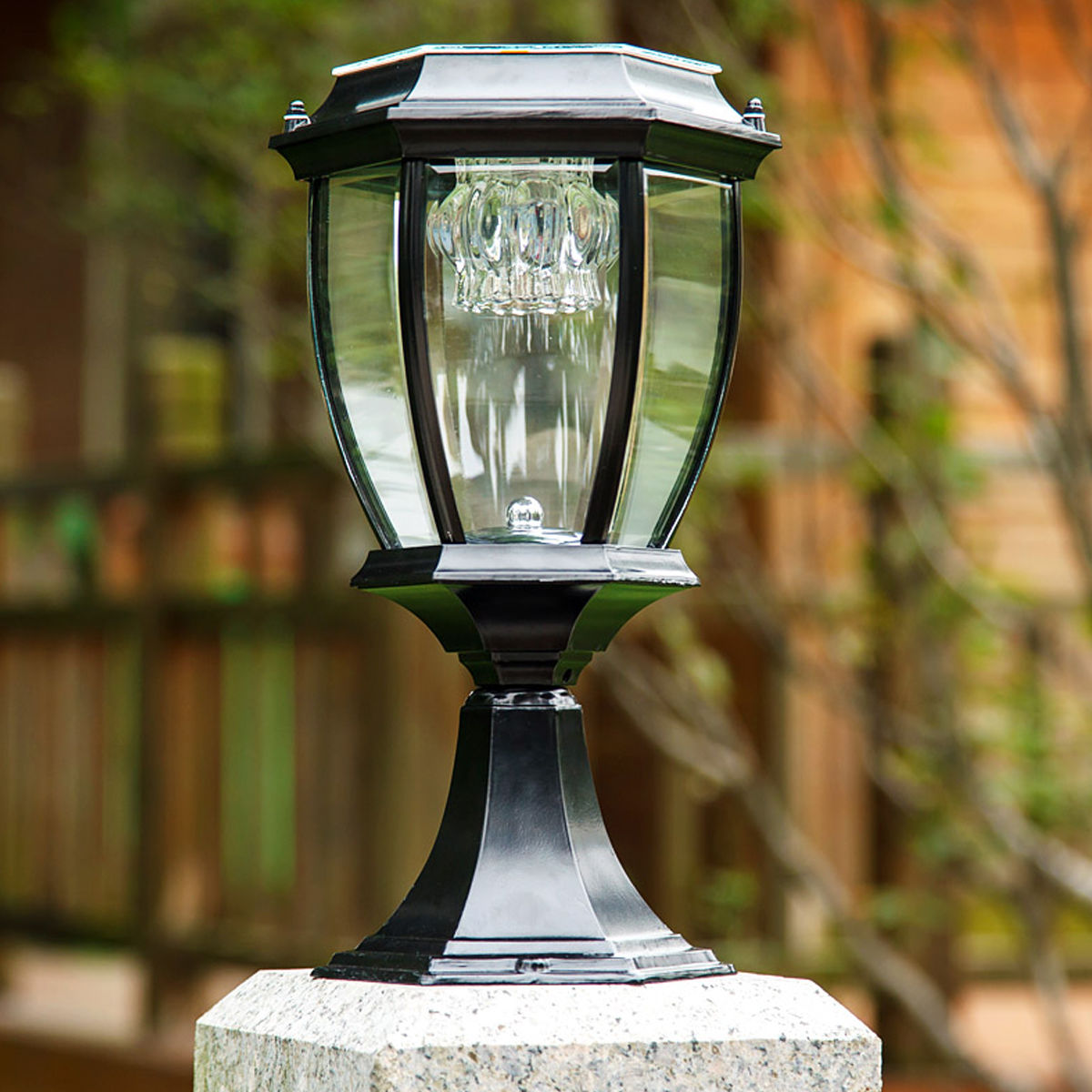 4 Foot Outdoor Solar Powered Lamp Post With: Outdoor Solar Power LED Garden Yard Pillar Light Post