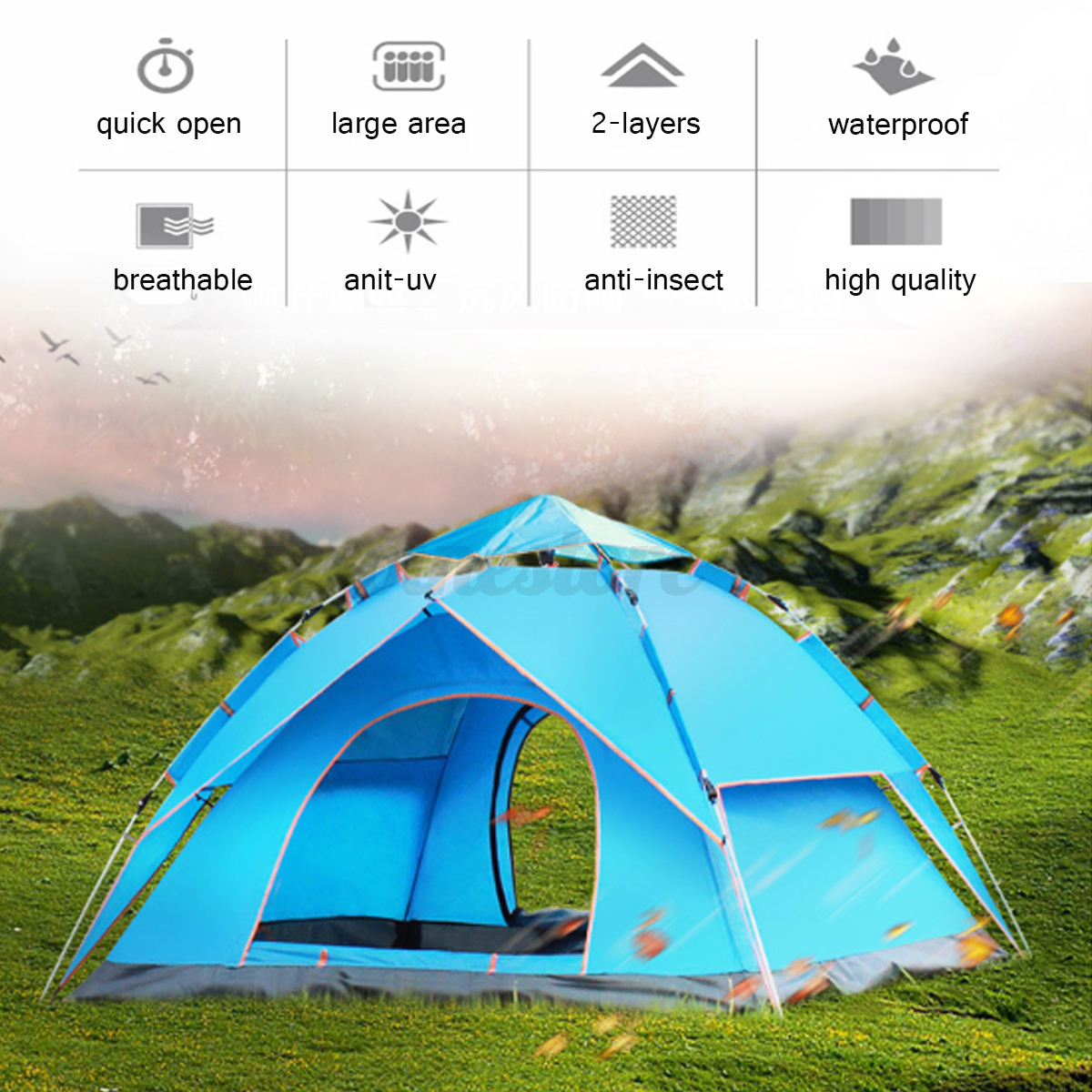 Automatic-3-4-Man-Person-Family-Tent-Camping-Anti-UV-Waterproof-Shelter-Hiking