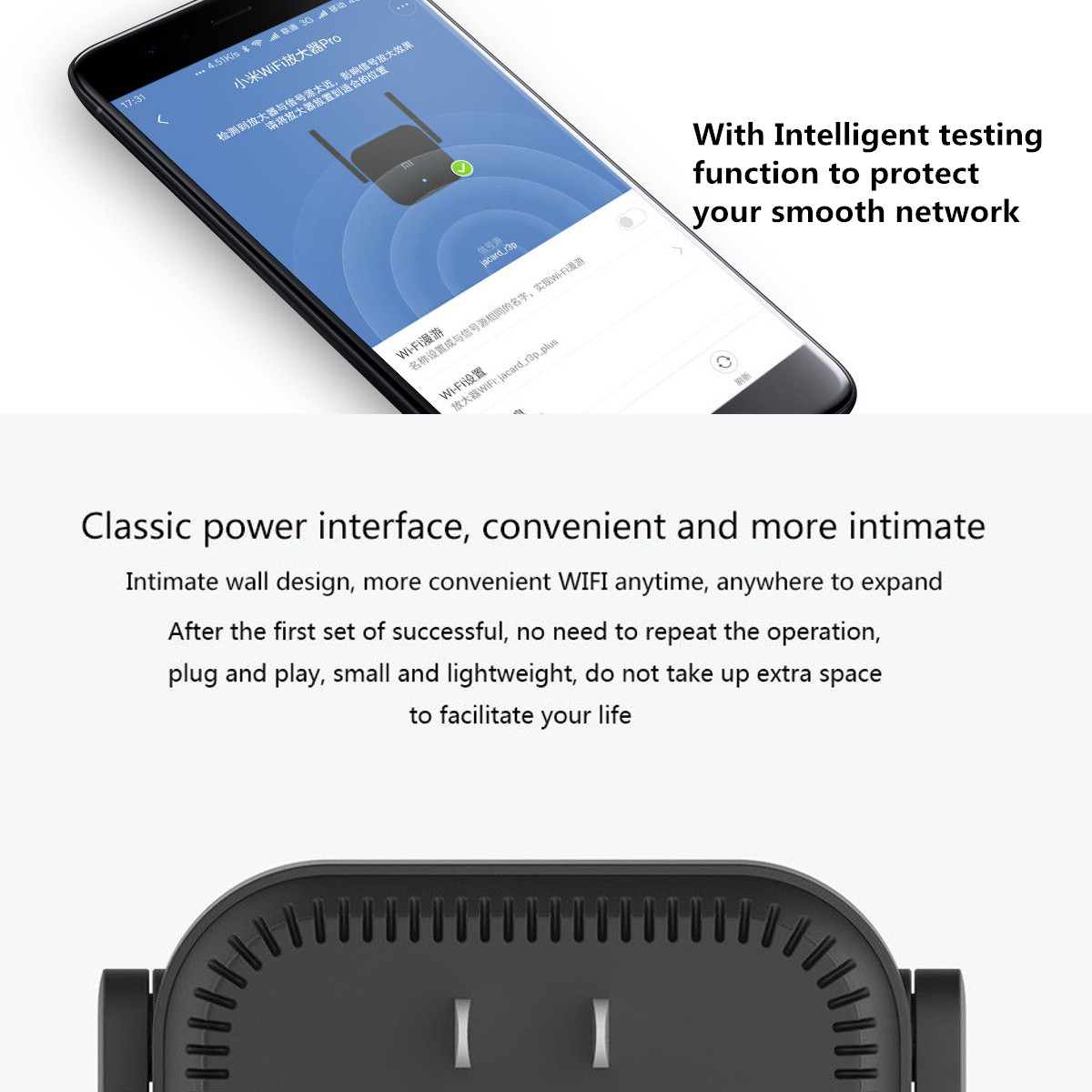 Original Xiaomi Pro 300mbps Wifi Amplifier Wireless 2 Signal Extender Repeater With Antenna R03 Detail Image