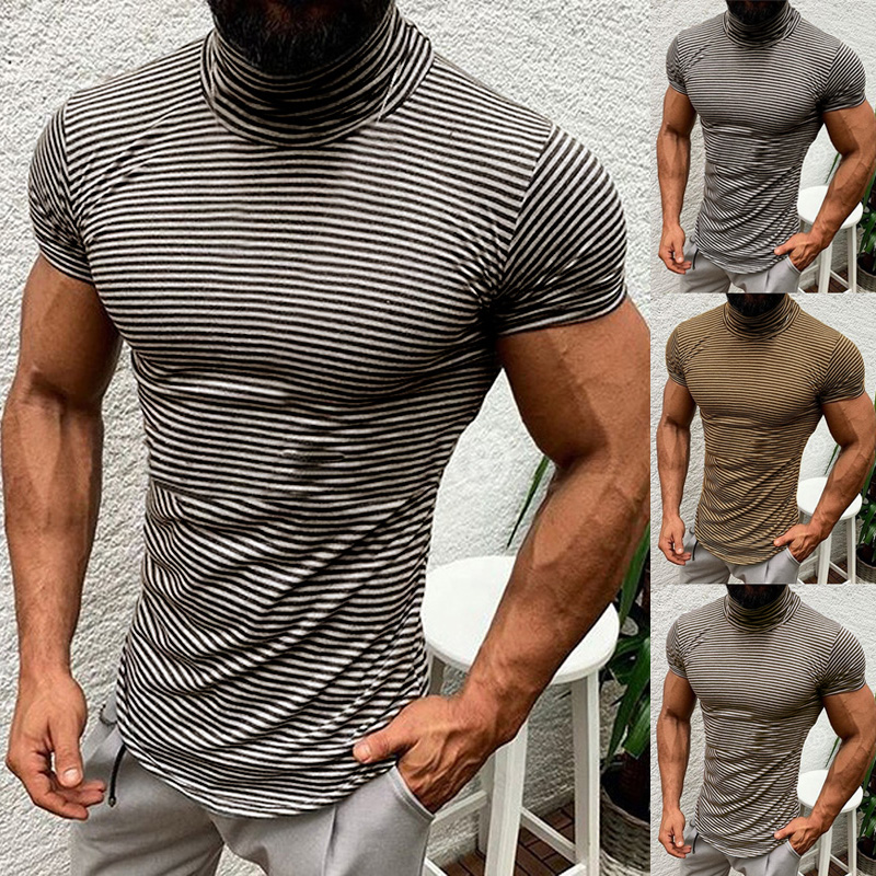 Mens Slim Stand Neck T Shirts Sports Short Sleeve Summer Muscle Polo Shirts Top
