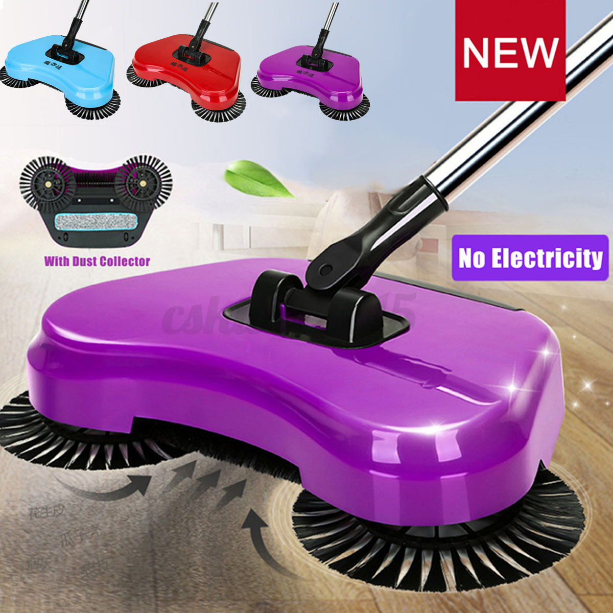 spin hand push sweeper broom household floor cleaning mop without electricity ebay. Black Bedroom Furniture Sets. Home Design Ideas