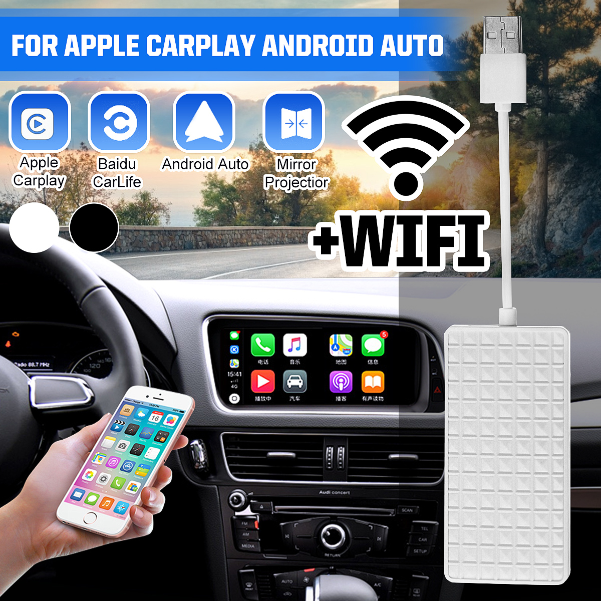 USB Carplay Dongle Android Auto For Apple Iphone Android Stereo Radio Head Unit