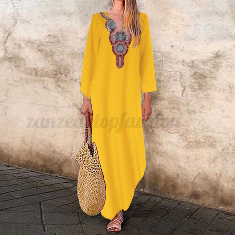 Women-Oversized-Floral-Loose-Baggy-Long-Maxi-Dress-Ethnic-Vintage-Shirt-Dress thumbnail 7
