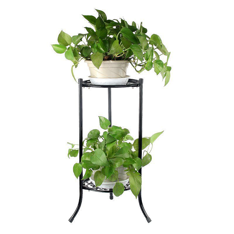 Two Layer Elegant Metal Plant Stand Shelf Flower Pot Rack