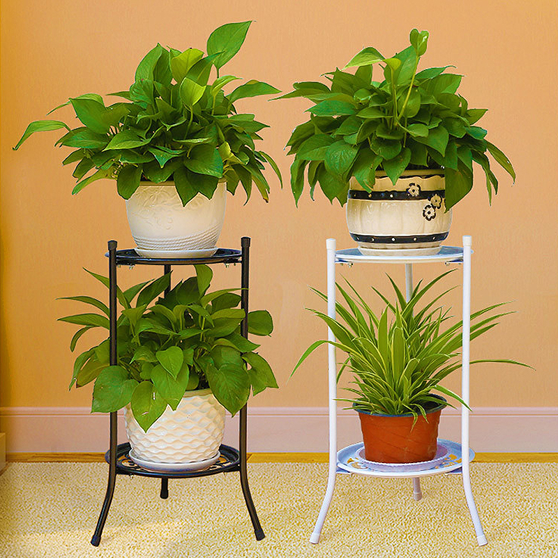 Two layer elegant metal plant stand shelf flower pot rack for Display home garden designs