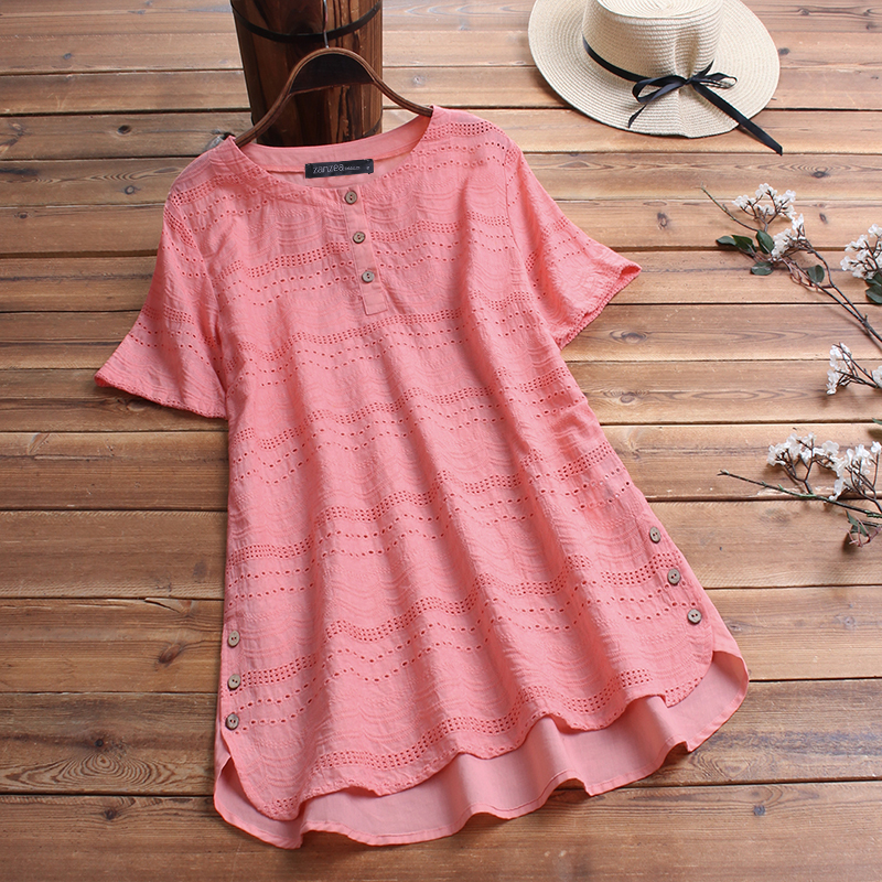 ZANZEA-8-24-Women-Button-Up-Short-Sleeve-Top-Tee-T-Shirt-Eyelets-Cotton-Blouse thumbnail 9